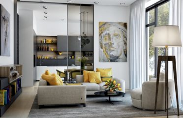 Modern-Lounge-Design-Scheme-Apartment-Yellow